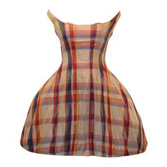 Alexander McQueen Sarabande S/S 2007 Plaid Silk Off Shoulder Dress 38