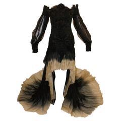 New Alexander McQueen S/S 2011 Runway Ombre Hi-Low Off Shoulder Gown Dress 38