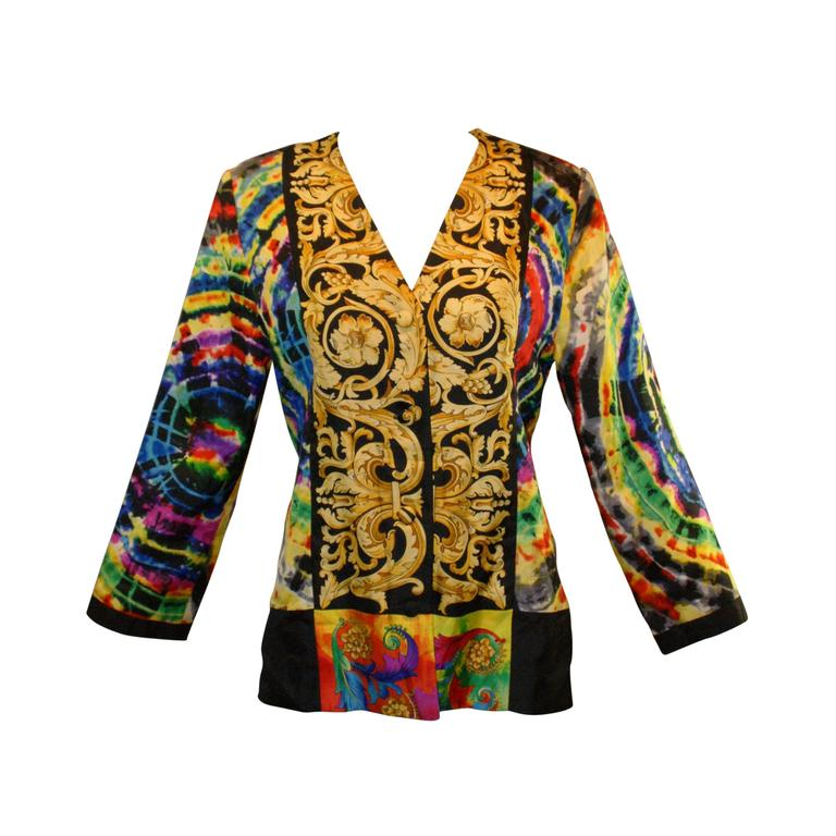 S/S 1991 Atelier Versace by Gianni Baroque Tie Dye Silk Jacket For Sale