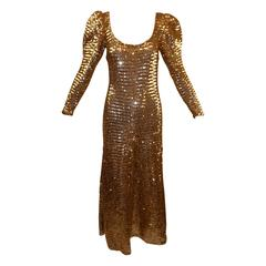 Documented 1973 Jean Patou Long Gold Sequin Gown Dress