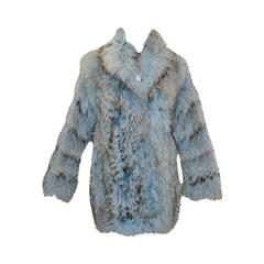 F/W 2001 Gianni Versace NWT Blue Marmot Fur Coat Jacket on Kim Kardashian