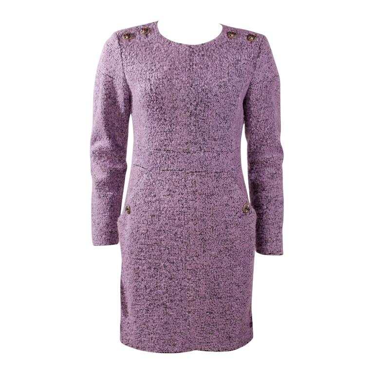 Chanel Purple Boucle Dress For Sale