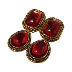 Yves Saint Laurent Earrings Red Glass Cabochon Gold Metal Drop YSL 70s