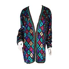 Vintage Oleg Cassini Sequined & Beaded Colorful Slouchy ' Stained Glass ' Jacket