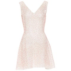 CHRISTIAN DIOR pink sequins bead embroidered sheer mesh fit flared over dress S