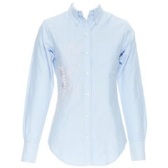 THOM BROWNE light blut cotton pink tiget embroidery slim fit shirt IT38 XS