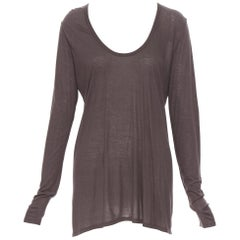 THE ROW dust grey scoop neck long loose fit sleeve fine cotton casual top S