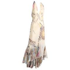 Roberto Cavalli Silk Chiffon Halter Dress Hi Lo Ruffle Mermaid Hem M