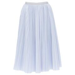 "SACAI LUCK grey lace trim skirt blue cotton pleated high slit knee skirt JP1 24"""