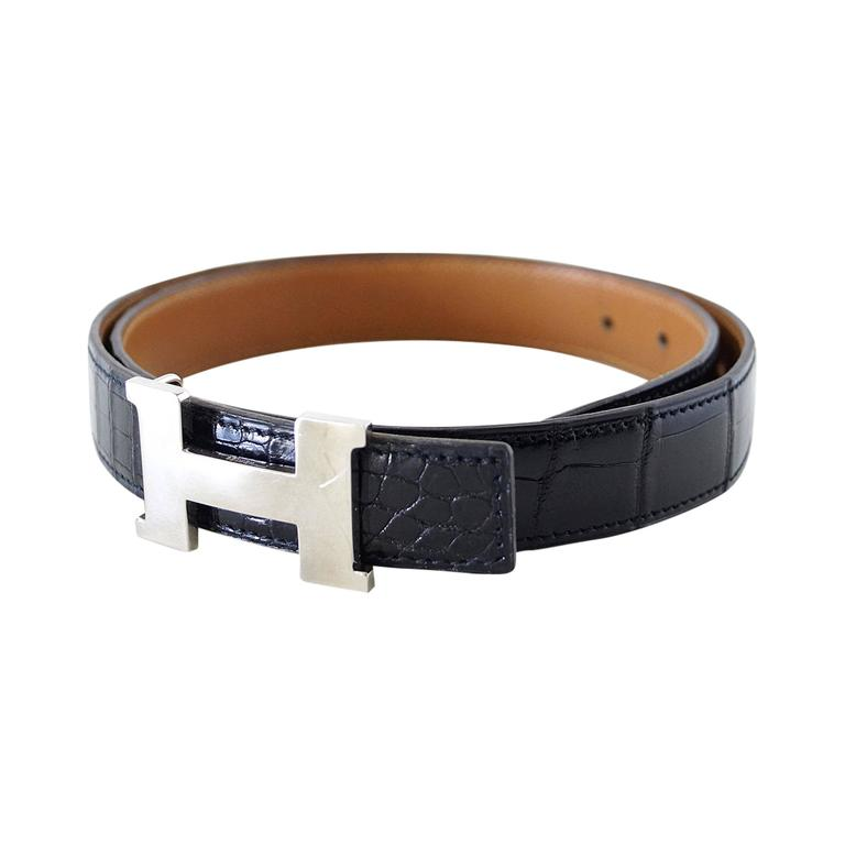 HERMES belt vintage mini constance crocodile palladium buckle