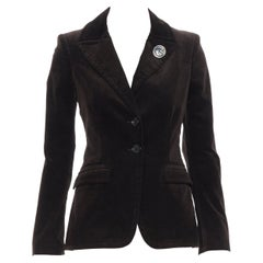 GUCCI 2007 brown velvet G brooch monogram lined fitted blazer jacket IT38 XS