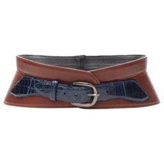 "OSCAR DE LA RENTA brown blue mock croc buckle corset belt S 27"""