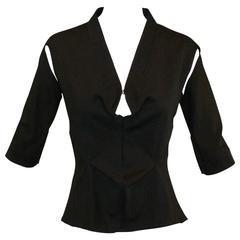 Alexander McQueen S/S 2000 Cut-out Kimono Wool Blouse Top