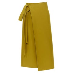 OLD CELINE PHOEBE PHILO mustard wool blend tie waist wrap midi skirt FR36