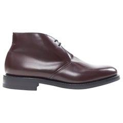 new CHURCHS Ryder 3 Burgundy Bright Calf polished leather chukka boots UK11 US12