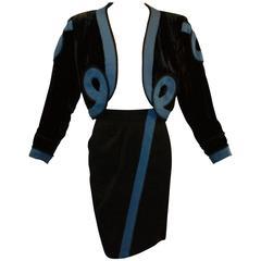 S/S 1991 Yves Saint Laurent Lesage Embroidered Toreador Crop Jacket Skirt Suit