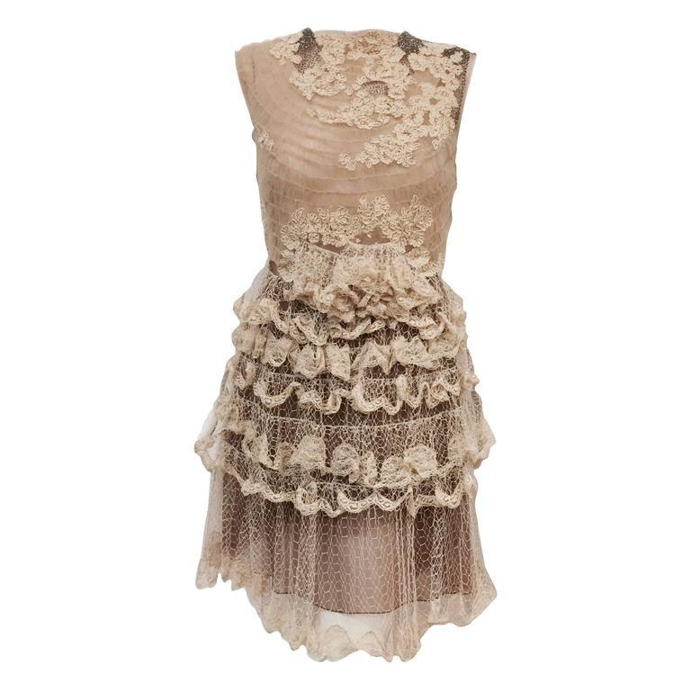 Valentino Mocha Latte Lace Sleeveless  Cocktail Dress  For Sale