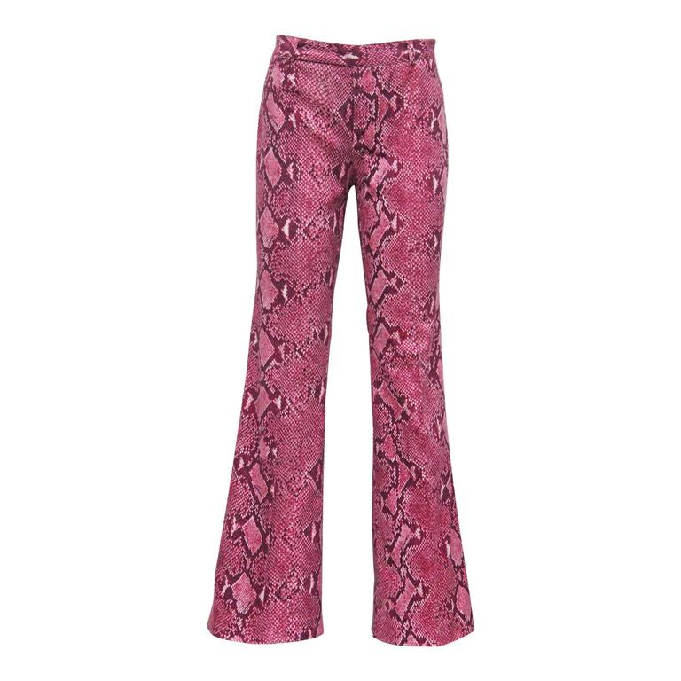 Gucci by Tom Ford Hot Pink Python Print Bell Bottom Pants, c. 2000