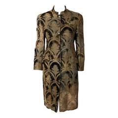 Romeo Gigli SageGreen Silk Brocade Velvet Burnout Coat w/Nehru Collar ca.1989
