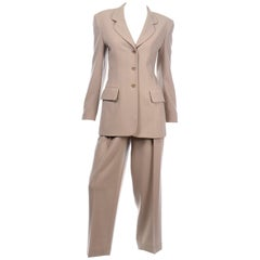 Escada Margaretha Ley Vintage Ecru or Khaki Brown Trouser &  Blazer Jacket Suit