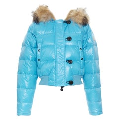 MONCLER brown fur lined hood blue down feather cropped puffer jacket US0 XS