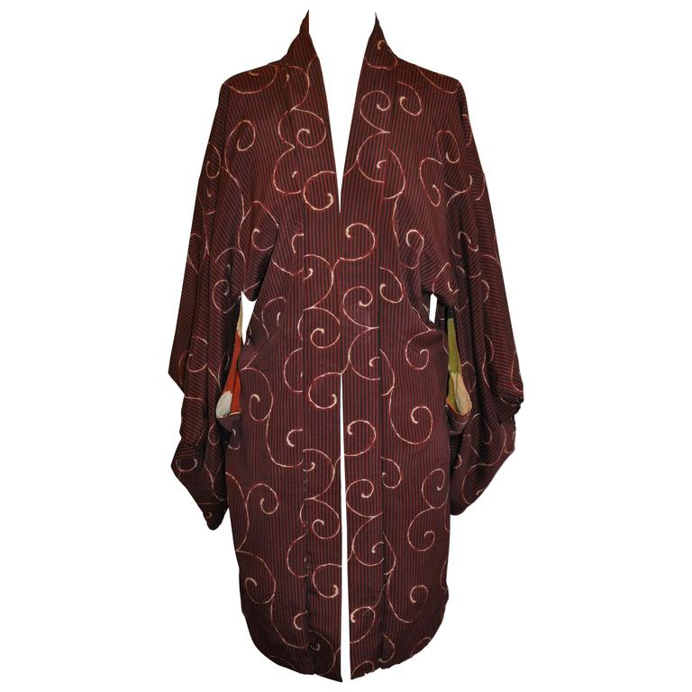 Japanese Burgundy with Swirls & Stripe Silk Kimono