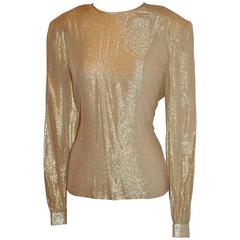 David Hayes Gold Lame Crew Neck Zippered Back Top