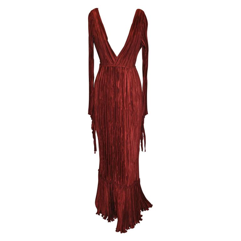 Mary McFadden Signature Burgundy Pleated Body-Hugging Gown