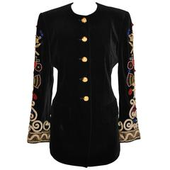 Escada 'Couture' Black Velvet with Detailed Embellished Sleeves Blazer