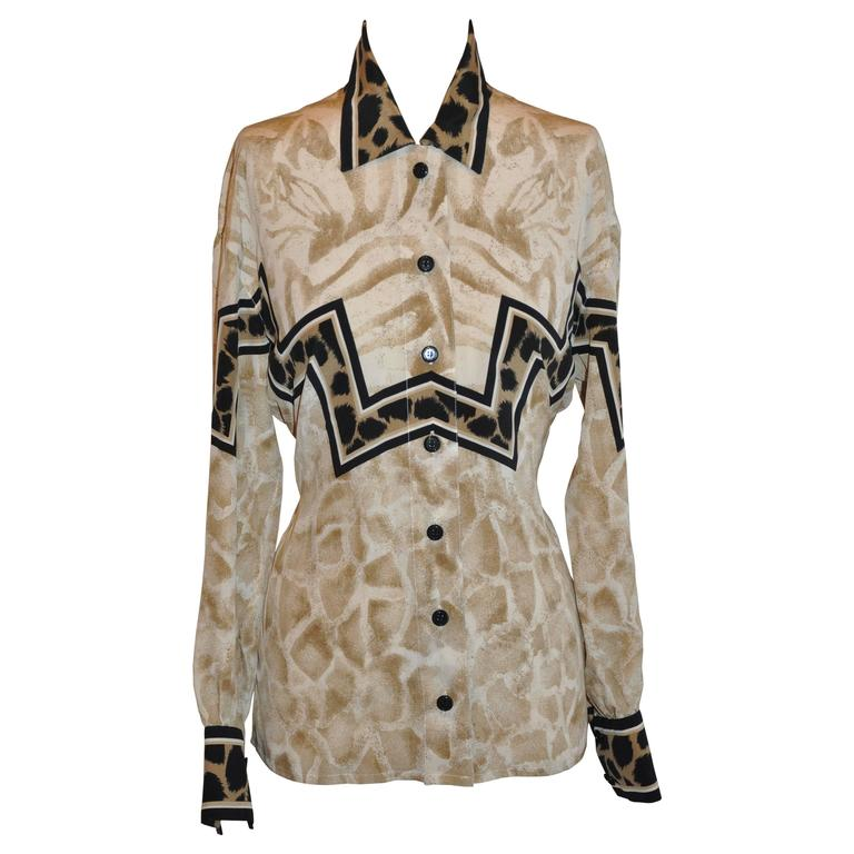 Escada Multi-Print Accented with Leopard Print Silk Blouse