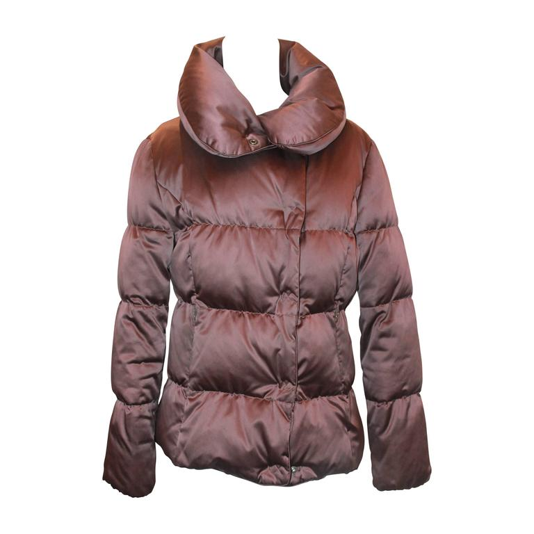 Burberry Brown Quilted Puffer Coat w/ Collar - M