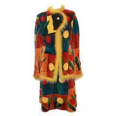 Zuki Floral Color Block Sheared Beaver Skirt Suit - Size 8