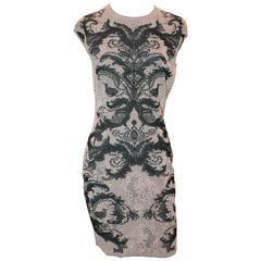 Alexander McQueen Blush & Black Sleeveless Knitted Dress w/ Lace Design - M