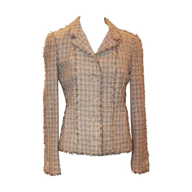 Chanel Blush, Cream, and Black Tweed Jacket w/ Fringe - 38 For Sale