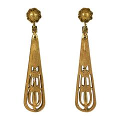 Miriam Haskell Victorian Revival Long Earclips
