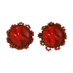 Miriam Haskell Red Pate de Verre Earclips