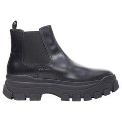 new PRADA 2019 Pull Up black leather Monolith chunky lug sole boot UK9 EU43