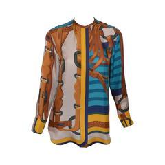 Hermes Paris Silk Equestrian Print Button Up Blouse
