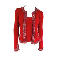 CHANEL Size 8 Red White & Teal Blue Frayed Trim Cashmere Cardigan Fall 2003 Set