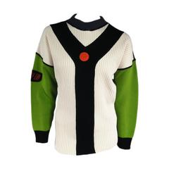 JEAN PAUL GAULTIER Sport Size L Cream Green & Black Y Ribbed Knit Crew Neck