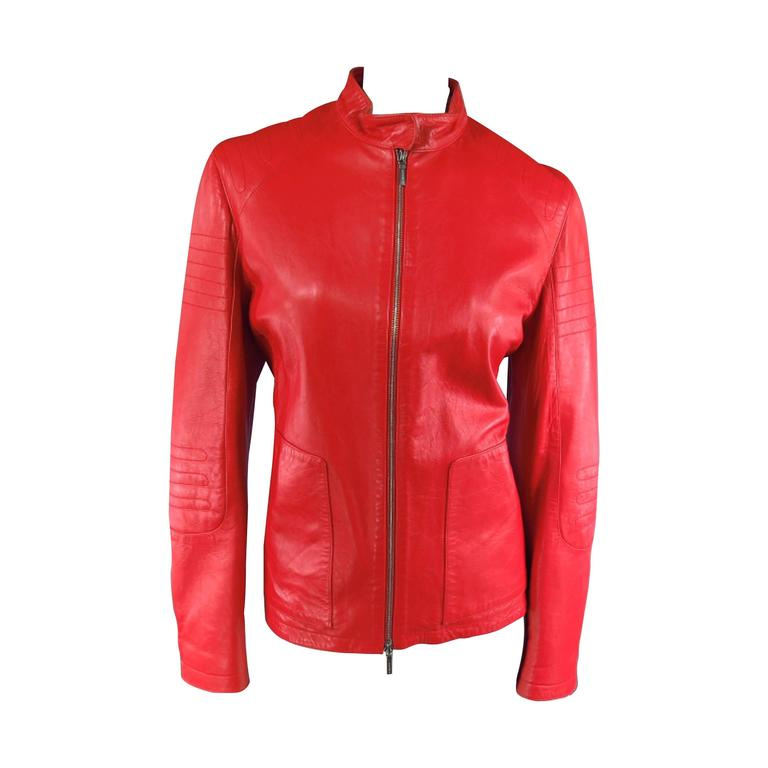 JIL SANDER Size 8 Red Leather Zip Motorcycle Jacket For Sale