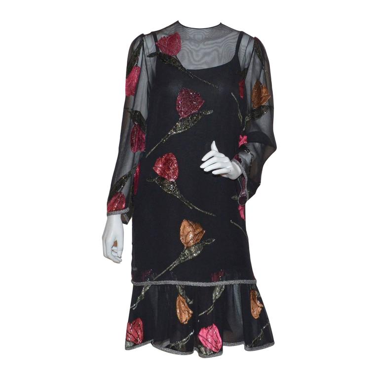 Pauline Trigere Cut Velvet Silk Chiffon Dress