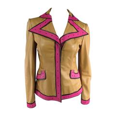 VALENTINO Size 6 Beige Pink & Black Leather Trim Leather Pointed Lapel Jacket
