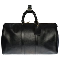 Louis Vuitton Keepall 45 Travel bag in black épi leather
