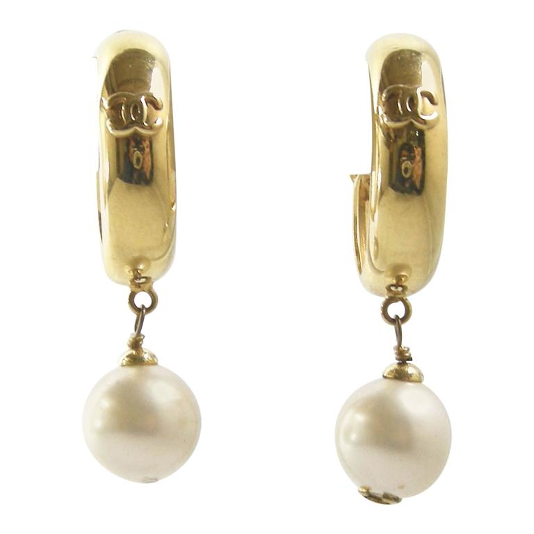 Vintage Chanel Season 29 Pearl Drop Unusual Hoop Earrings For