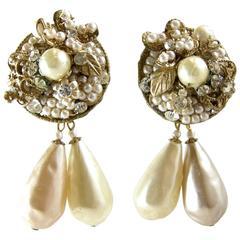 Vintage Signed 1950s De Mario Baroque Pearl Drop Earrings
