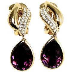 Vintage Christian Dior  Amethyst Crystal Earrings