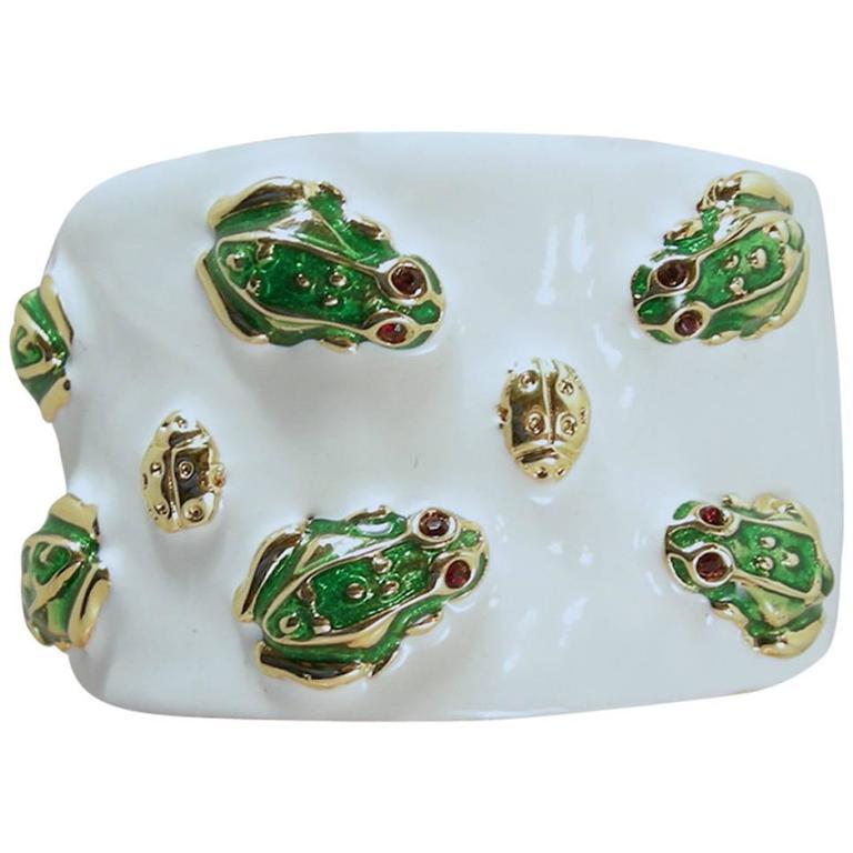 Signed Kjl 1990s Frog Enamel Hinged Cuff Bracelet At 1stdibs