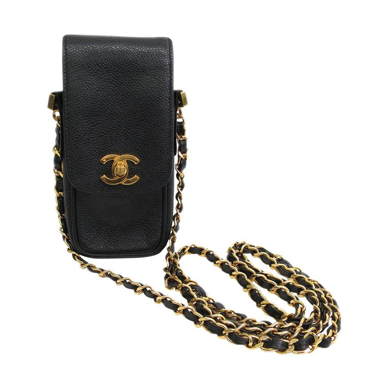 07337a5bc630 Chanel Black Caviar Leather Gold Hardware Phone Case Crossbody Shoulder Bag  For Sale