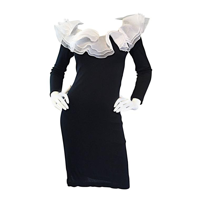 Incredible Vintage Jill Richards Black & White Ruffle Body Con Long Sleeve Dress